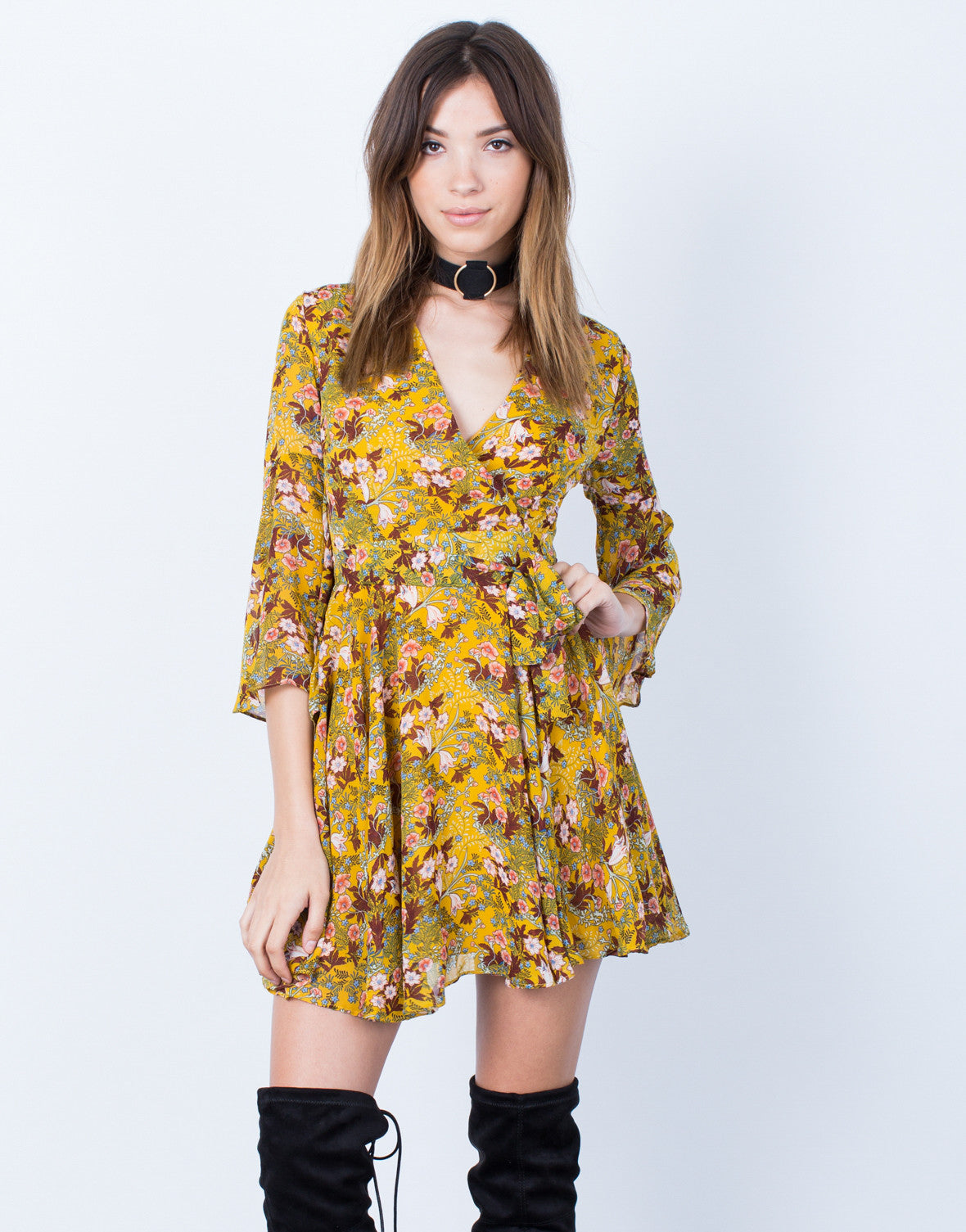 Front View of Dolled Up Floral Dress