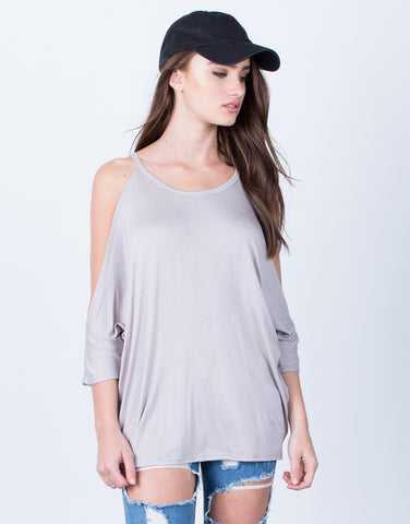 Front View of Dolman Cold Shoulder Top