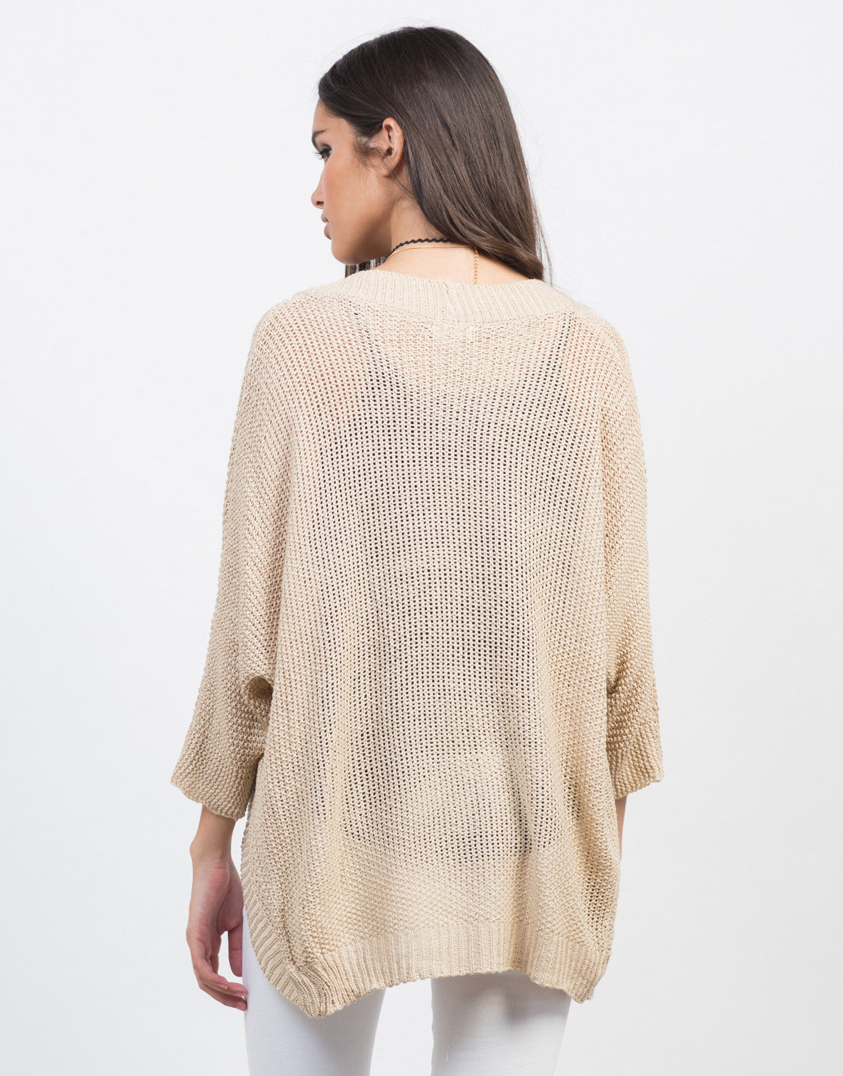 Back View of Dolman Open Knit Cardigan