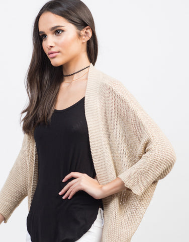 Detail of Dolman Open Knit Cardigan
