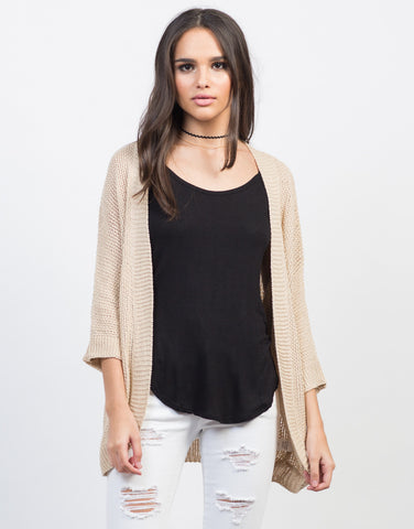 Front View of Dolman Open Knit Cardigan