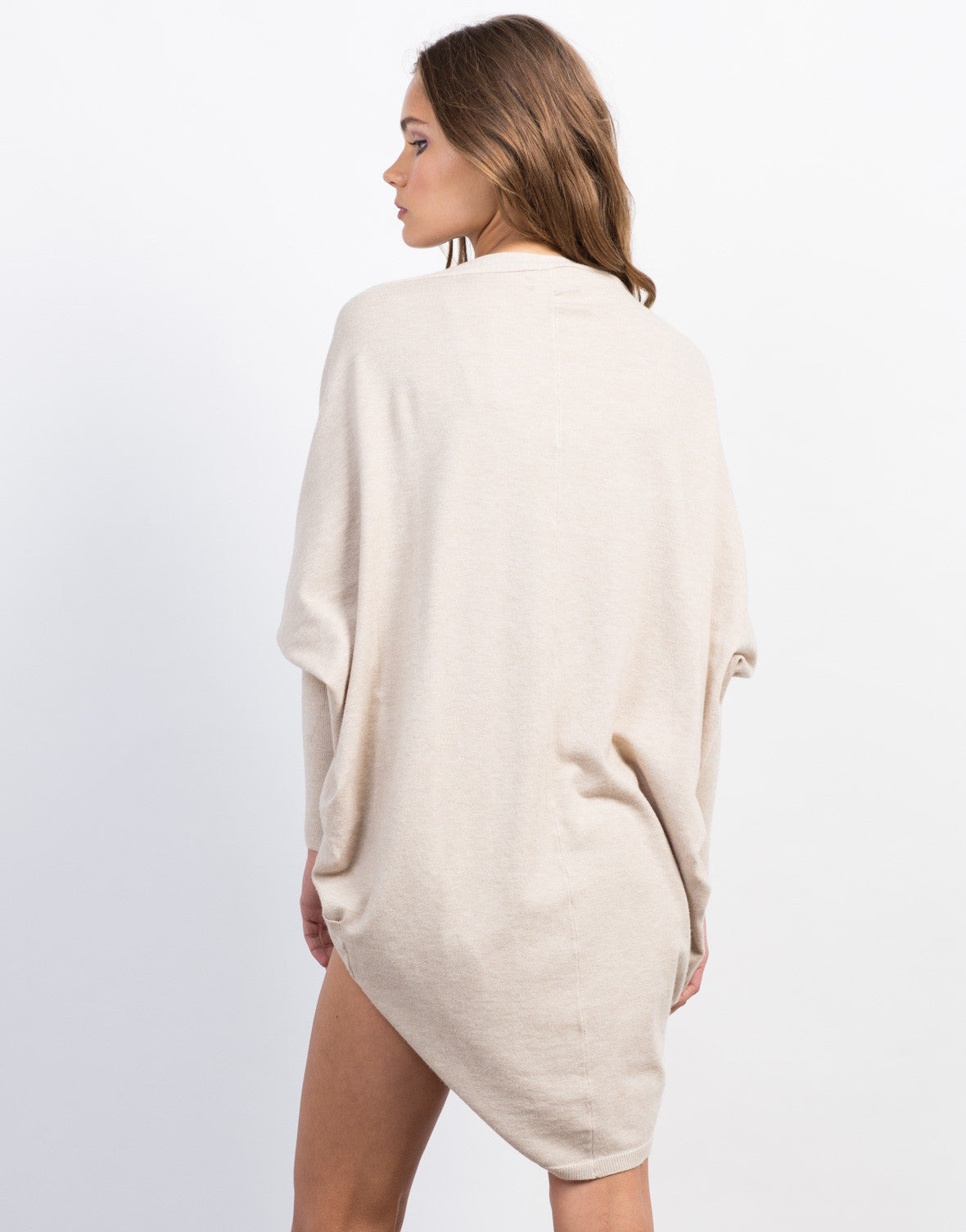 Back View of Dolman Sweater Cardigan