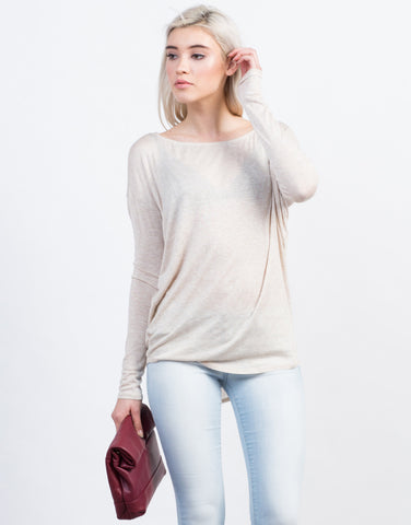 Front View of Dolman Long Sleeve Tee