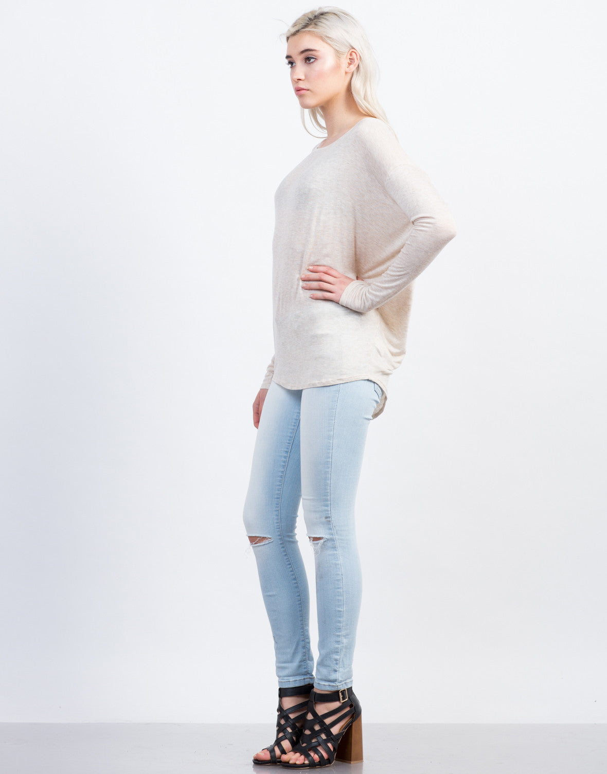 Side View of Dolman Long Sleeve Tee