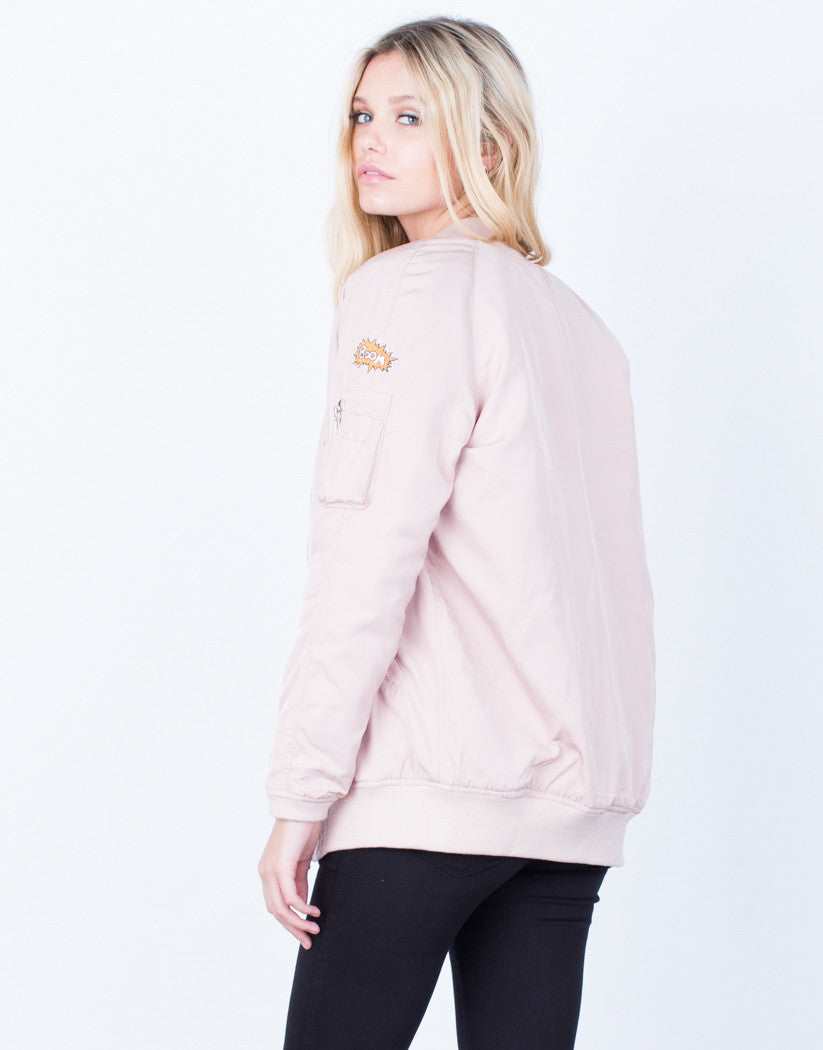 Back View of Don't Make Me Blush Bomber