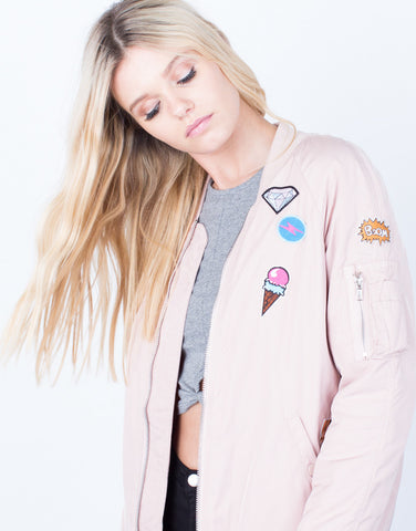 Detail of Don't Make Me Blush Bomber