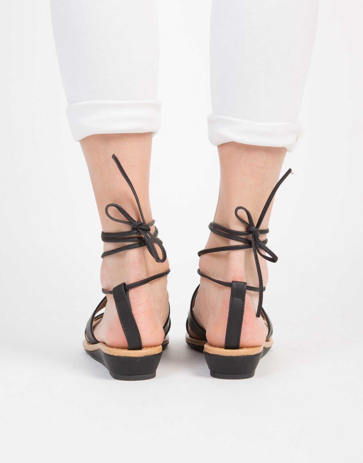 Double Banded Lace-Up Sandals