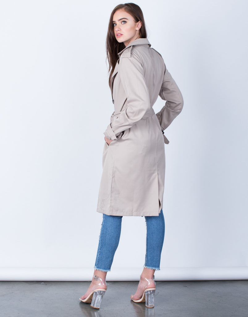 Back View of Double Breasted Trench Jacket