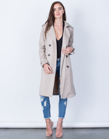 Front View of Double Breasted Trench Jacket