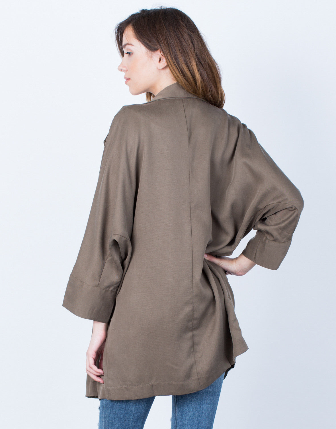 Back View of Double Buttoned Trench Jacket