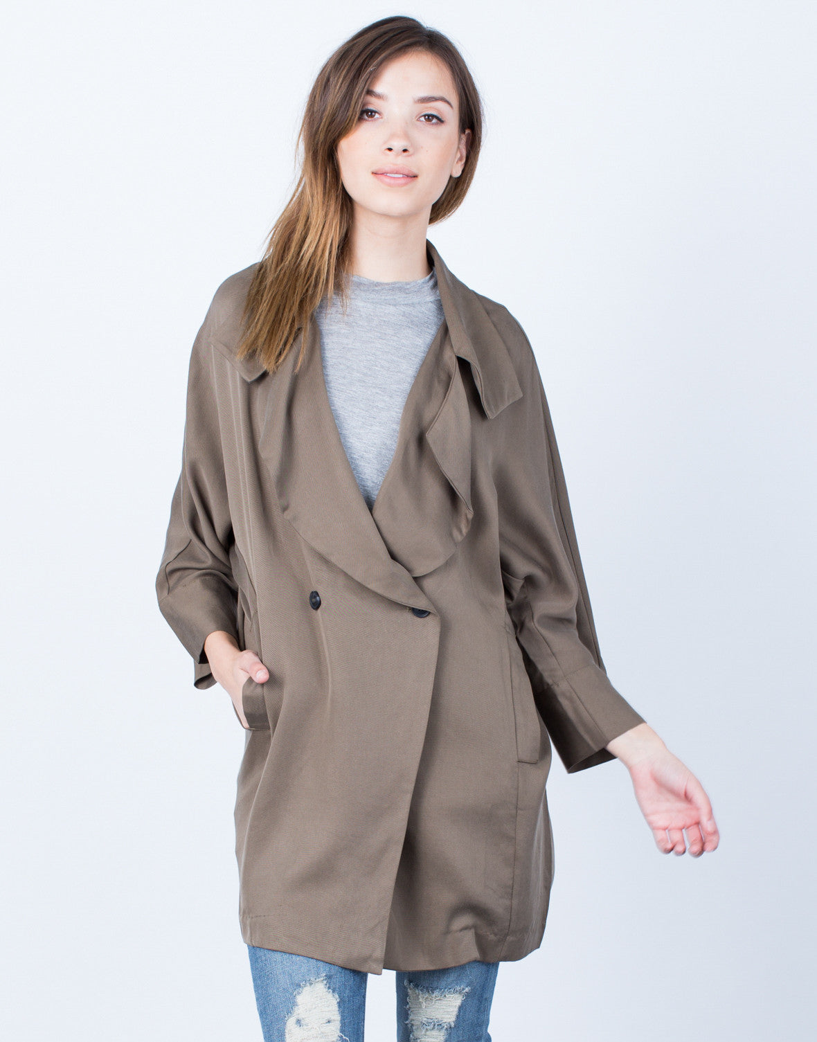 Front View of Double Buttoned Trench Jacket