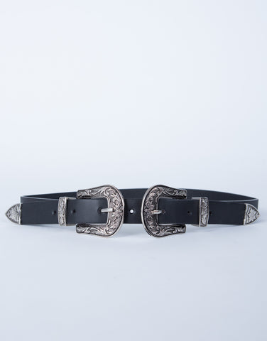 Double Floral Buckled Waist Belt