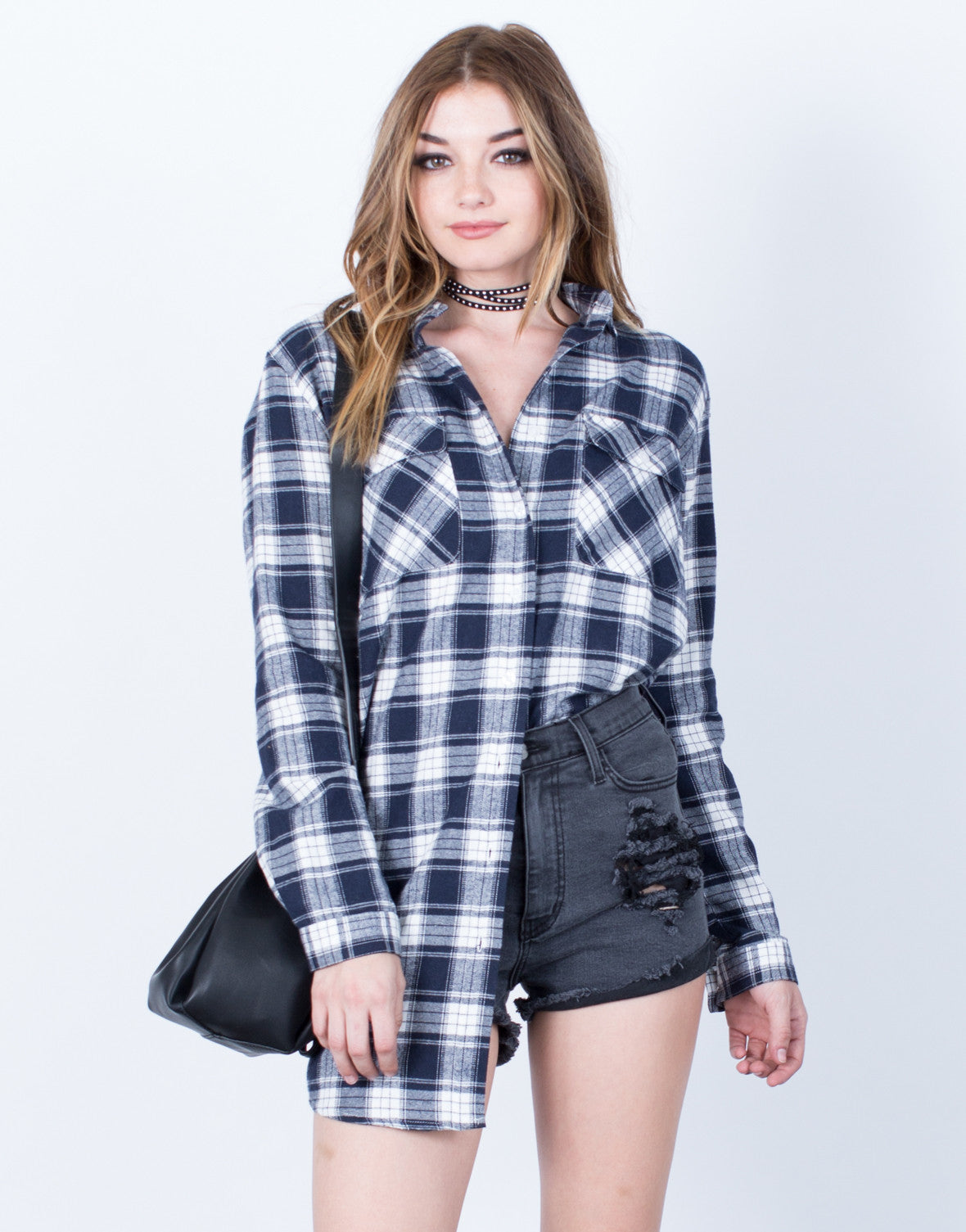 Front View of Double Pocket Plaid Tunic Top