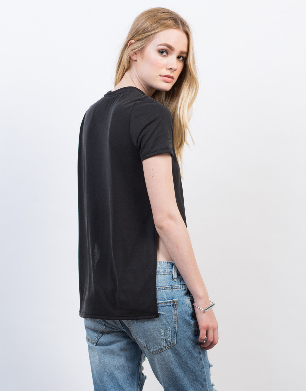 Back View of Double Slit Tee