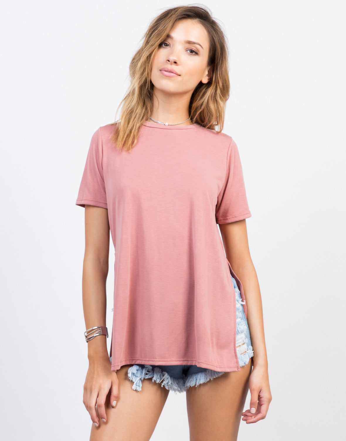 Front View of Double Slit Tee
