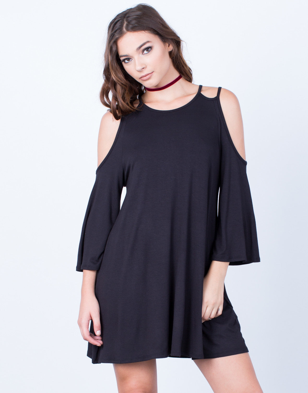 Front View of Double Strap Cold Shoulder Dress