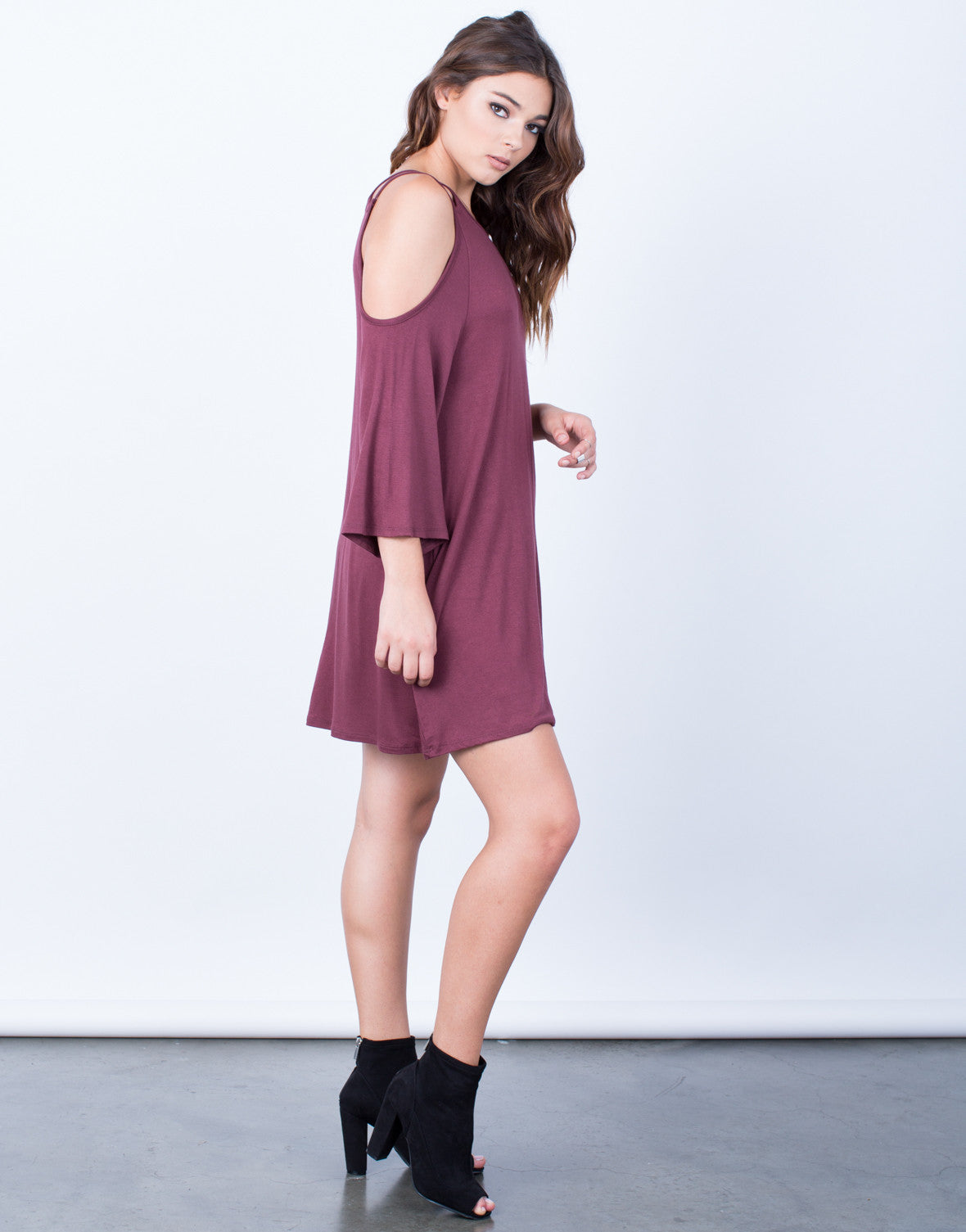 Side View of Double Strap Cold Shoulder Dress