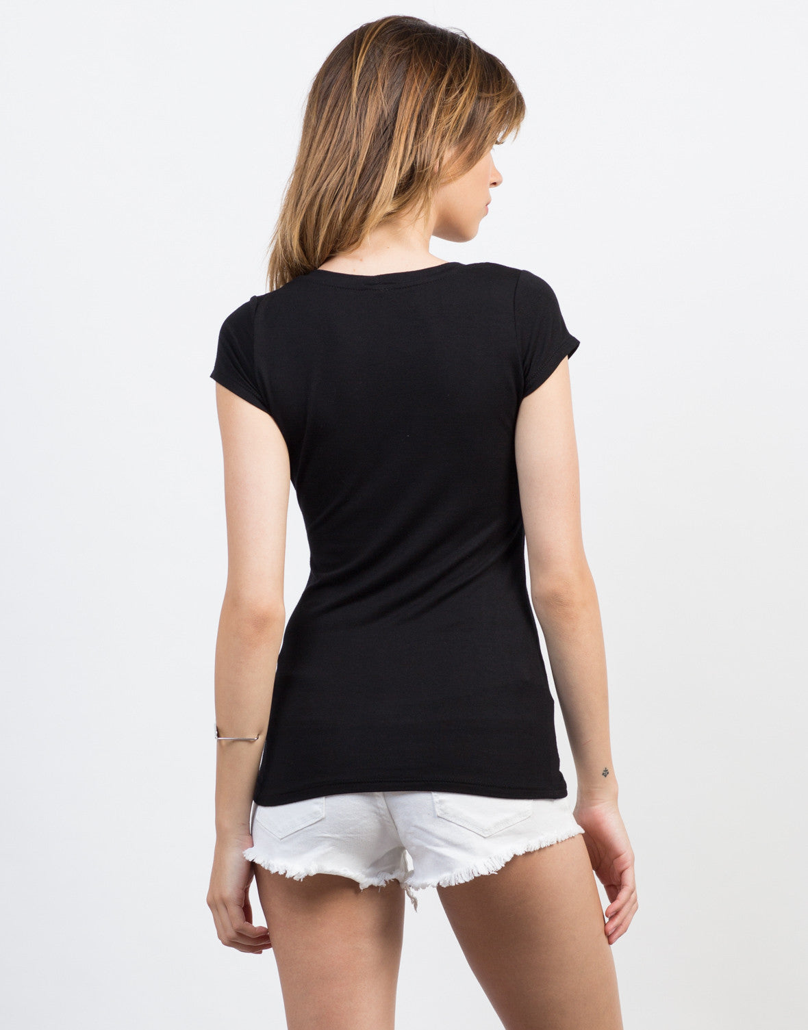 Back View of Double Strap Tee