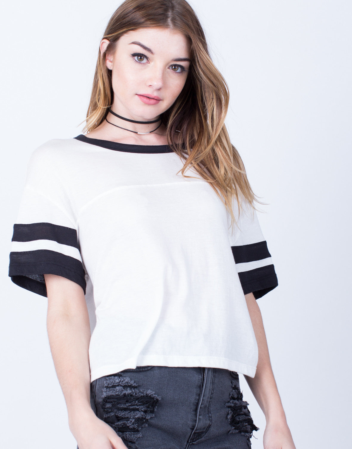 Detail of Double Striped Solid Tee