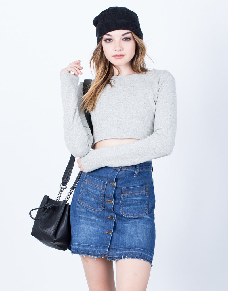 Double Tied Cropped Sweater - 2020AVE