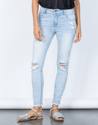 Light Blue Denim Double Up Denim Jeans - Front View