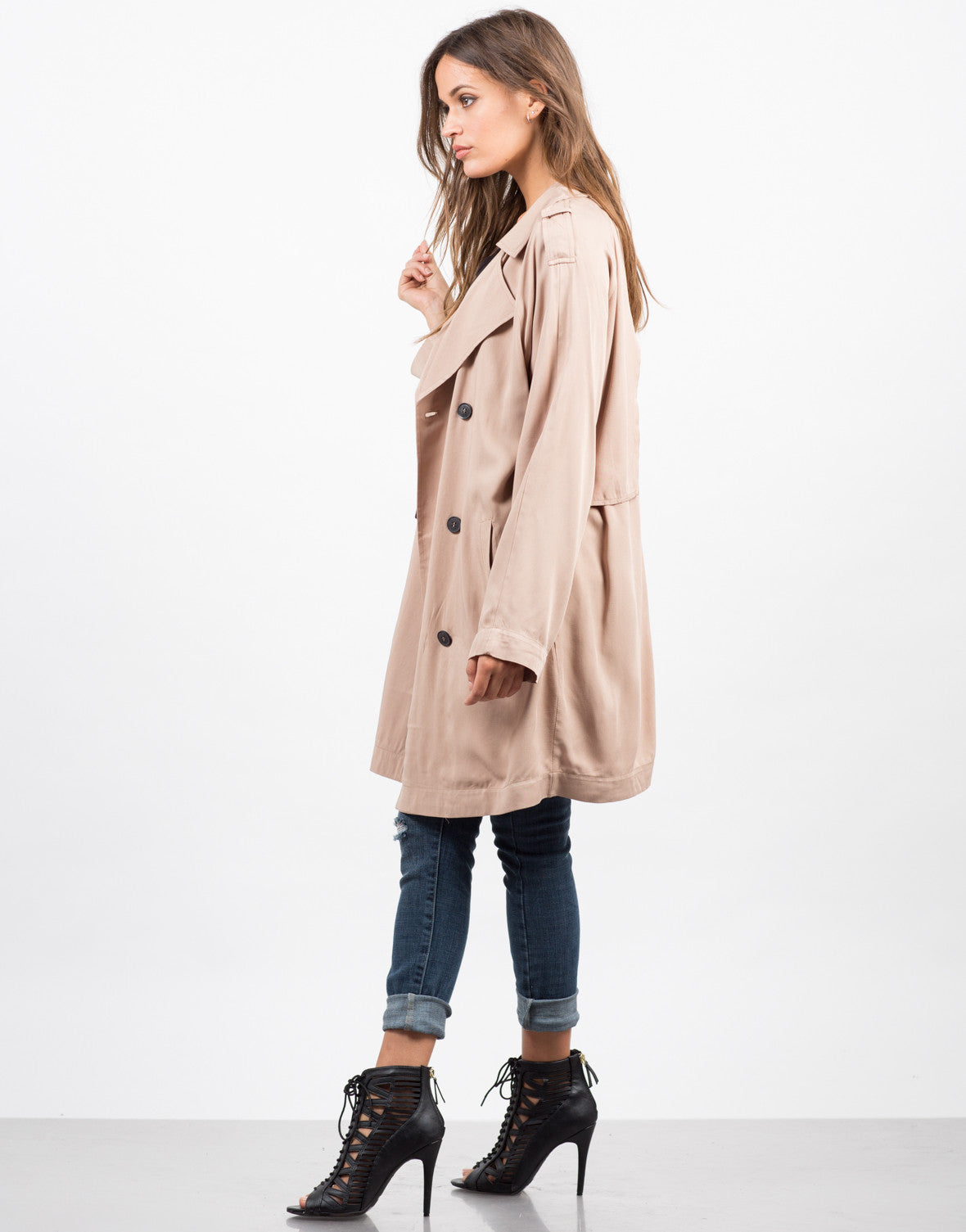Side View of Double Breasted Trench Coat