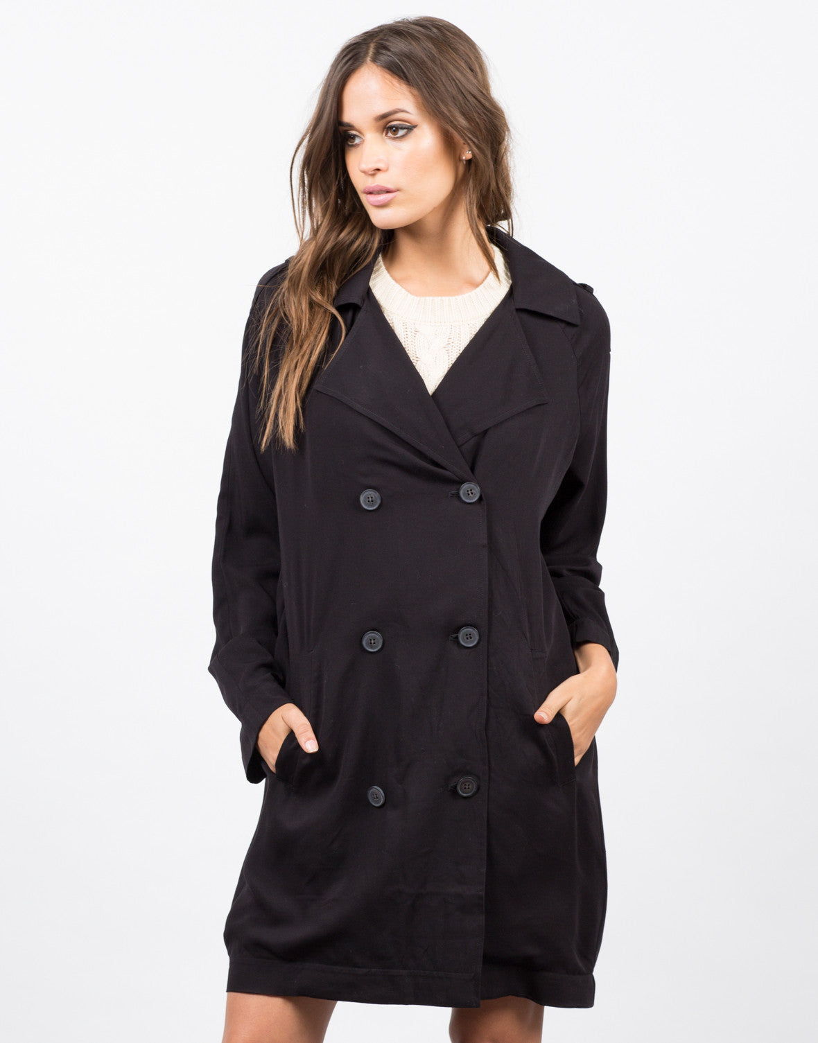 Front View of Double Breasted Trench Coat