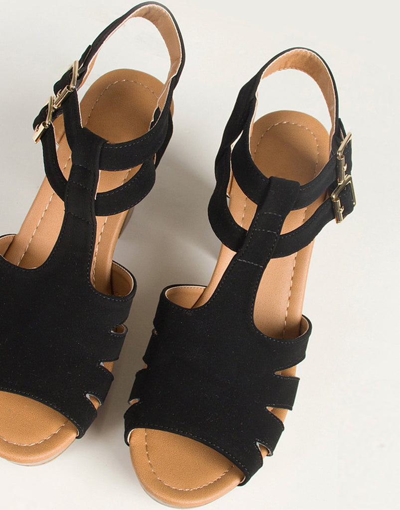 Double Buckled Strappy Wooden Platform Sandals - 2020AVE