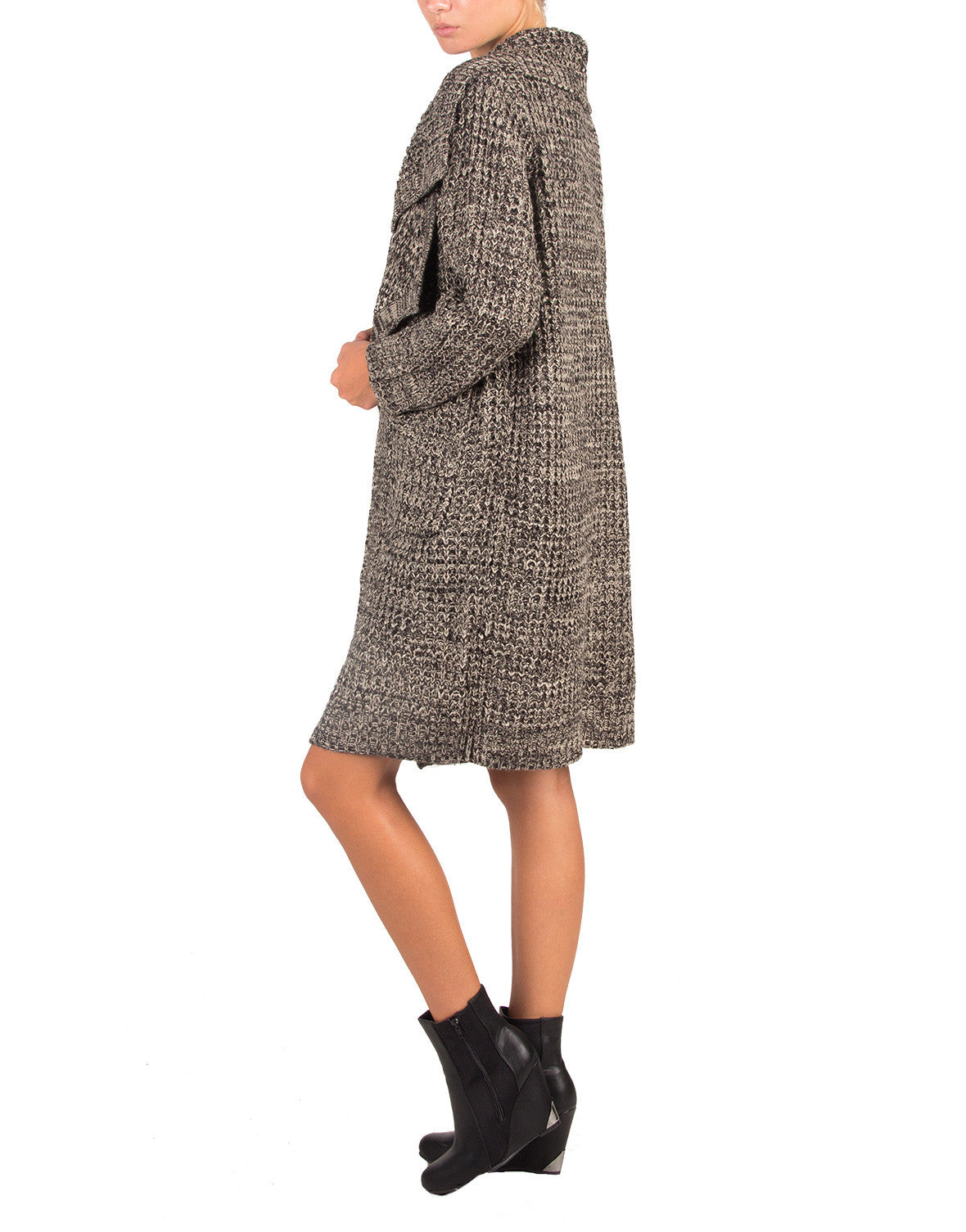 Double Collared Knit Cardigan - Mind Code KJ7266-Black/Gray