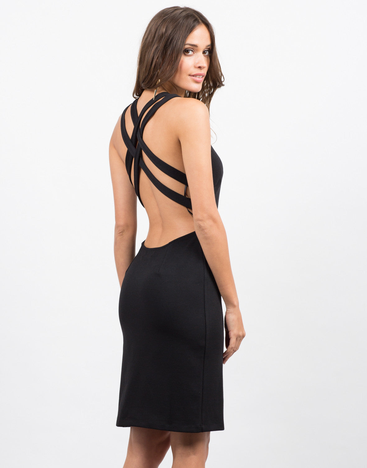 Back View of Double Cross Back Dress