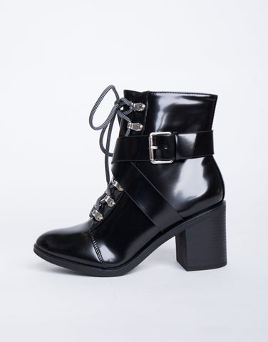 Double Crossed Buckled Boots - 2020AVE