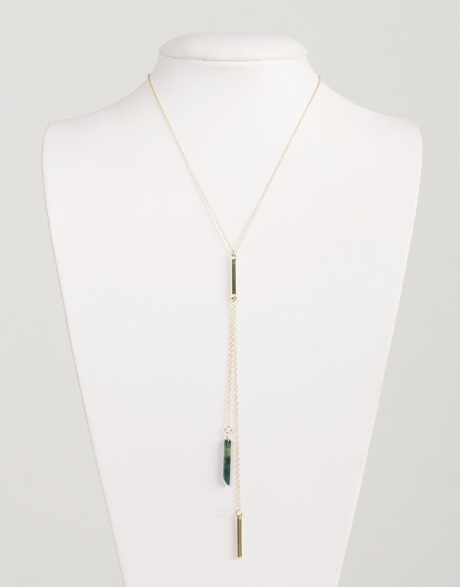 Double Drop Pendant Stone Bar Necklace
