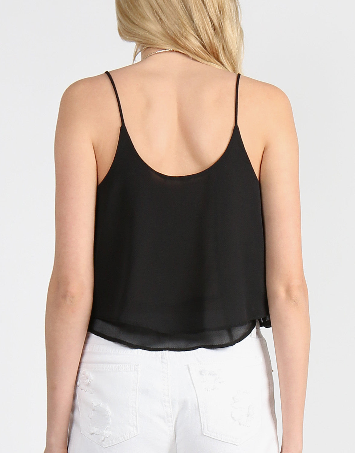 Double Layered Flowy Crop Tank - Black - 2020AVE