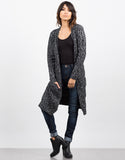 Front View of Double Pocket Mixed Knit Cardigan