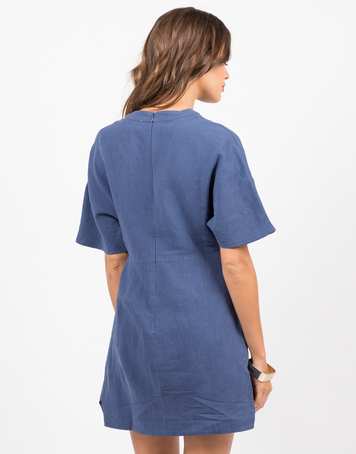 Back View of Double Pocket T-Shirt Dress