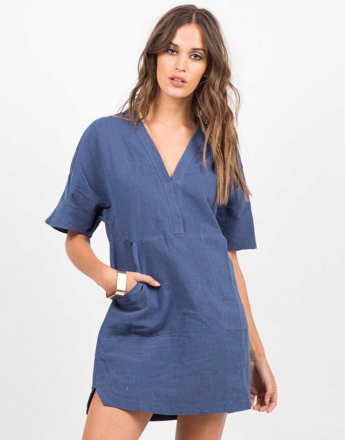 Front View of Double Pocket T-Shirt Dress