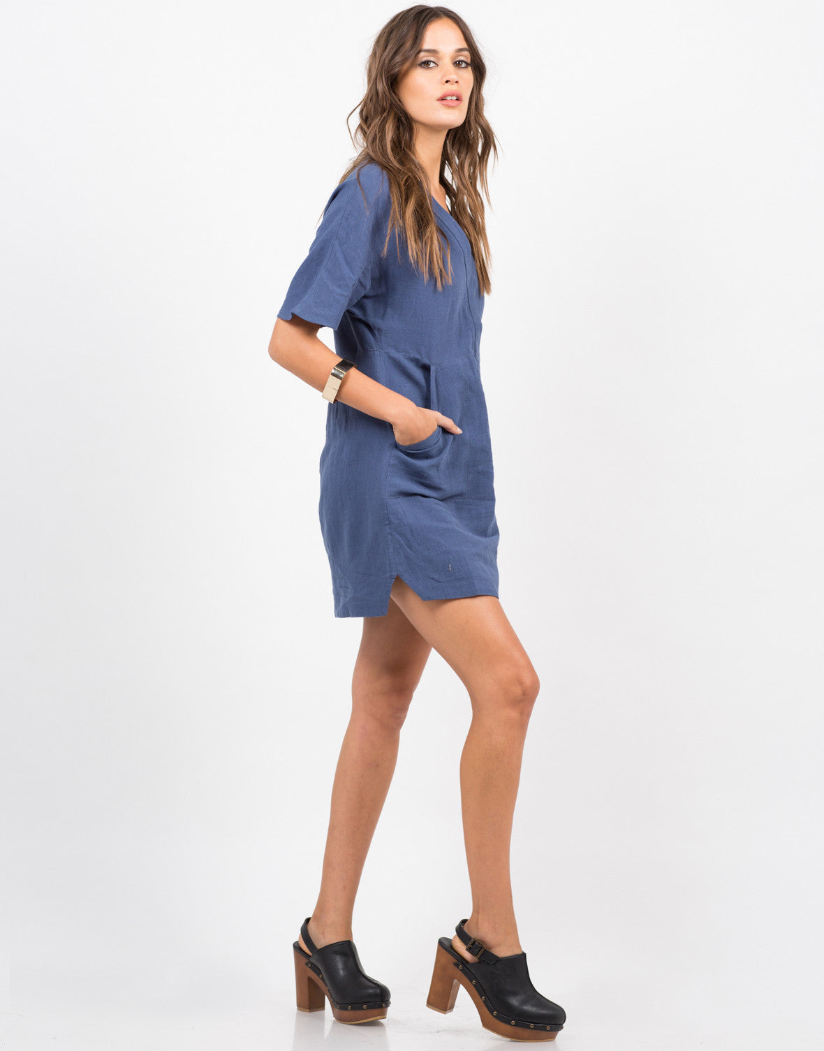 Side View of Double Pocket T-Shirt Dress