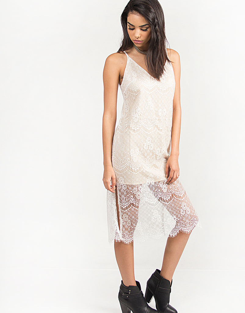 Double Slit Lace Overlay Dress - 2020AVE