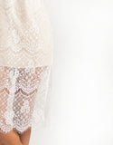 Double Slit Lace Overlay Dress