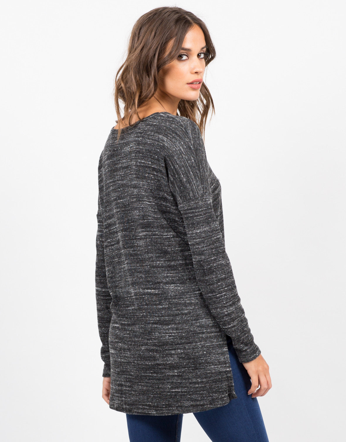 Back View of Double Slit Long Sleeve Top