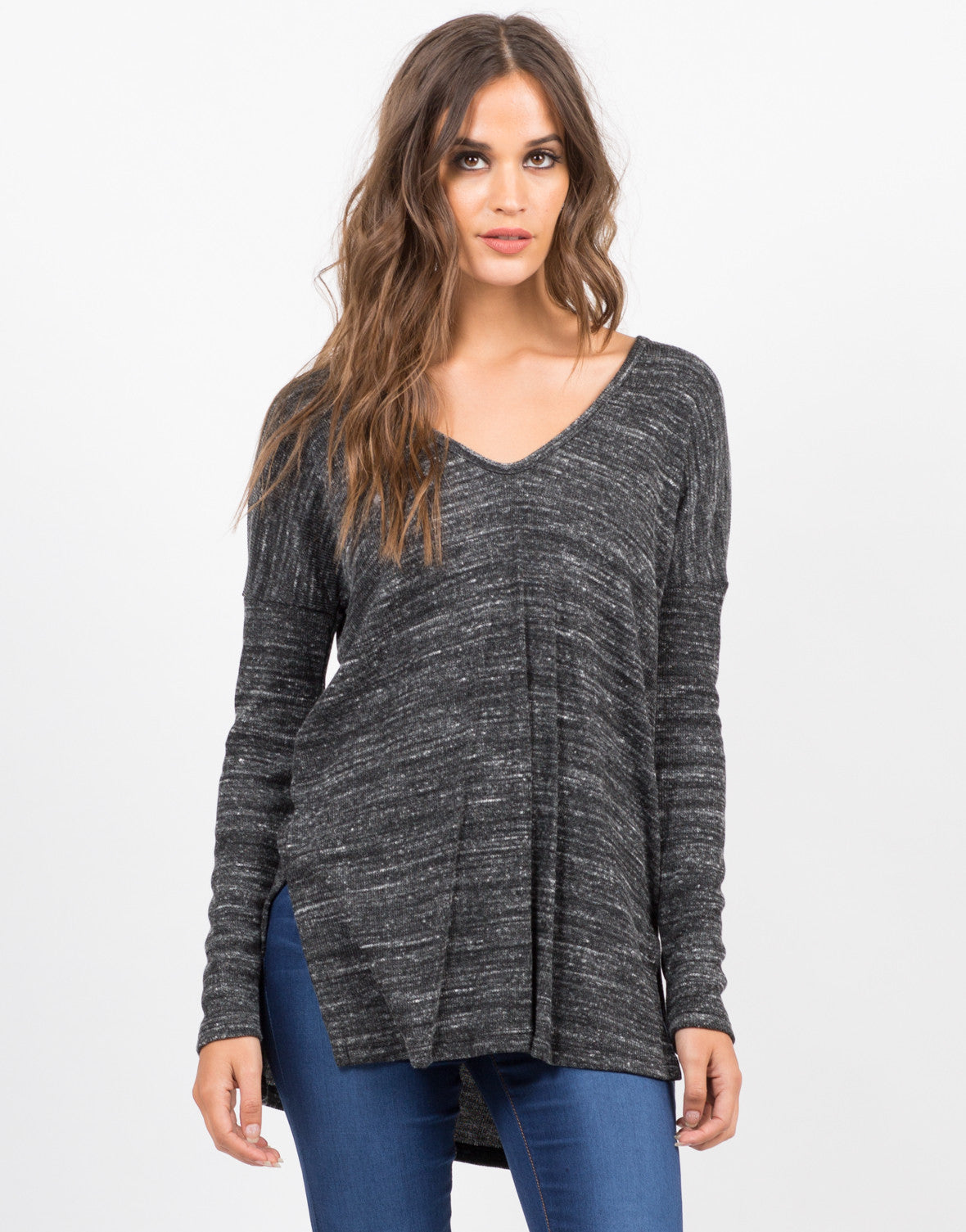 Front View of Double Slit Long Sleeve Top