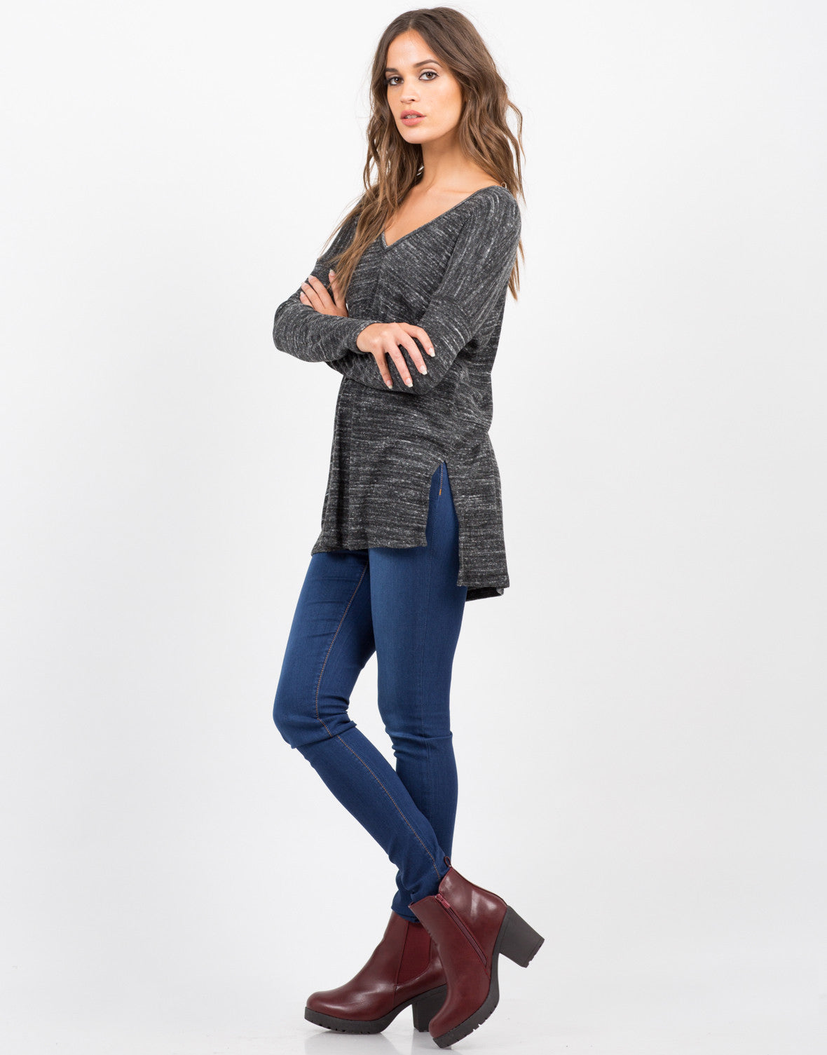 Side View of Double Slit Long Sleeve Top