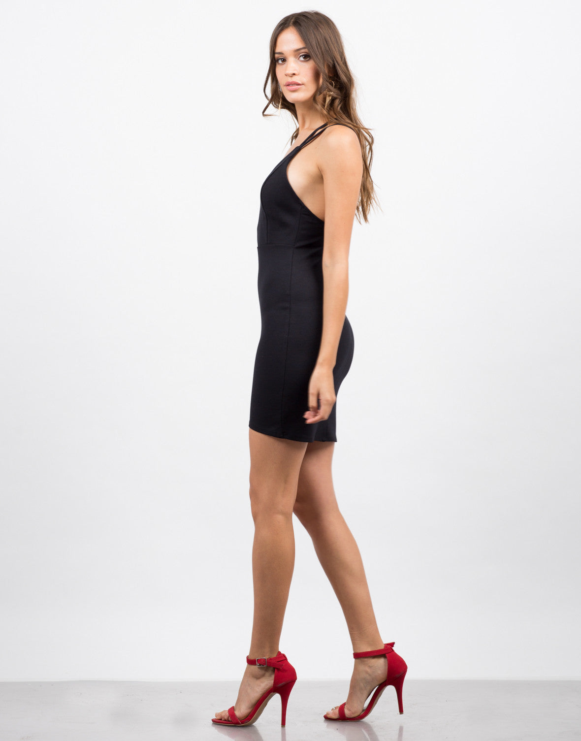 Side View of Double Strap Bodycon Dress