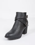 Double Strap Leather Ankle Boots