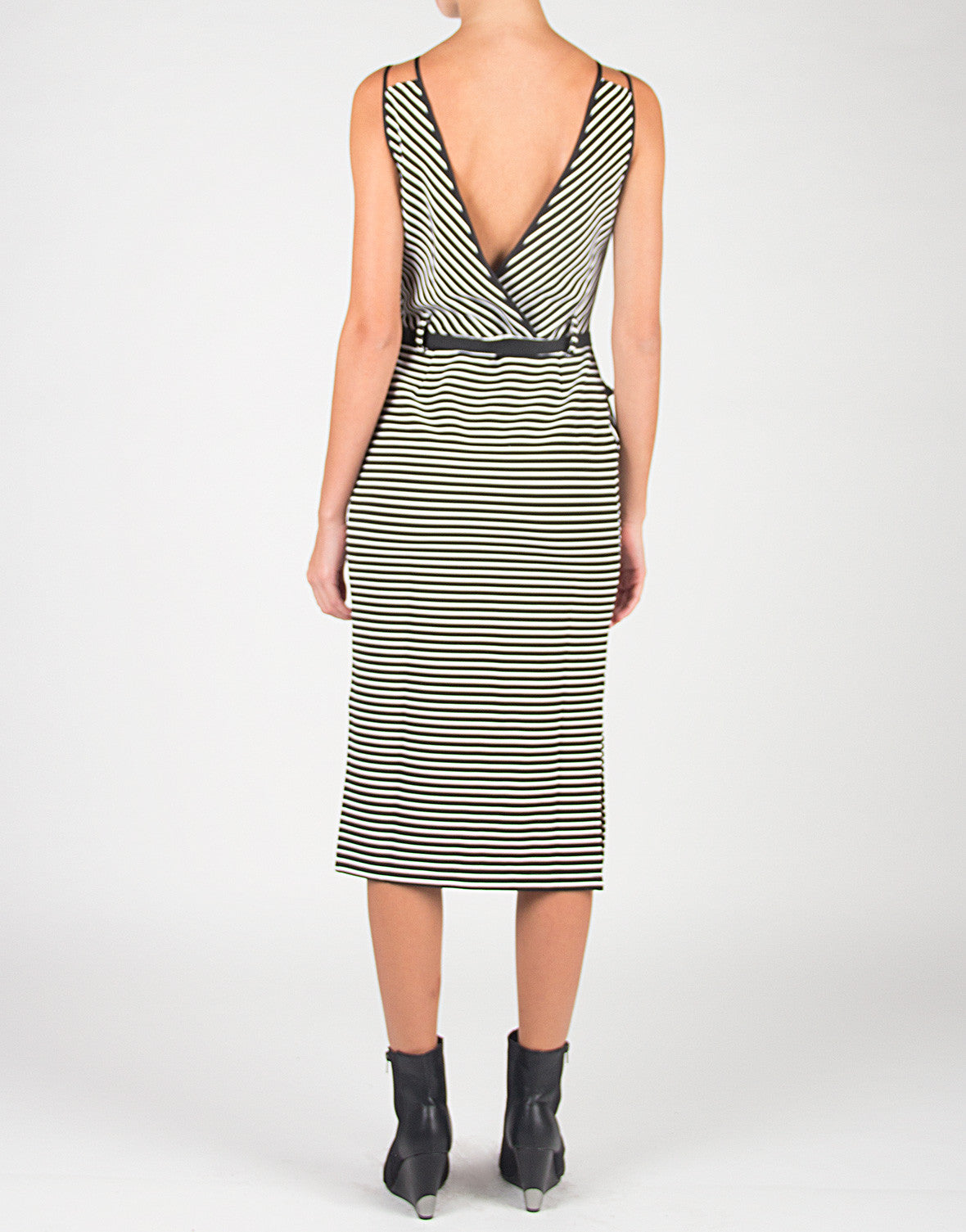 Double Strapped Stripey Belted Dress