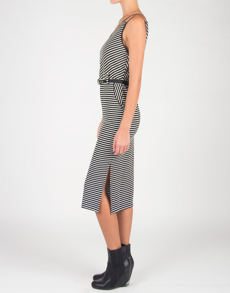 Double Strapped Stripey Belted Dress - 2020AVE