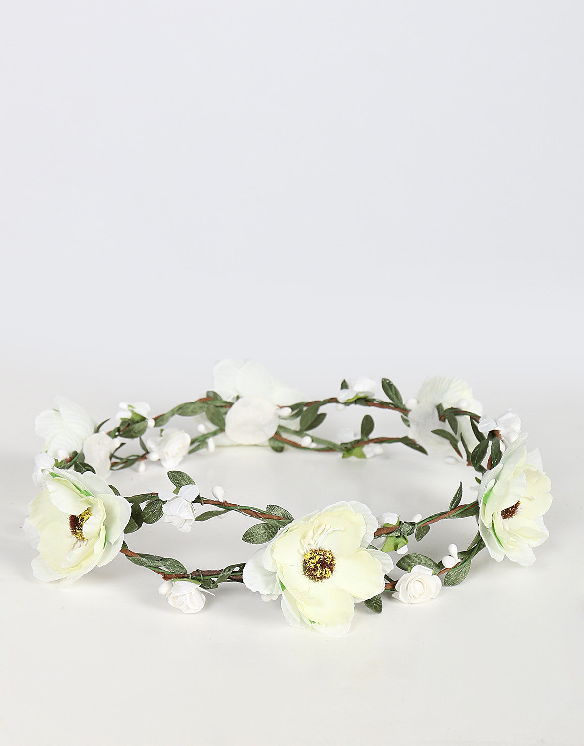 Double Wired Flower Crown - Ivory