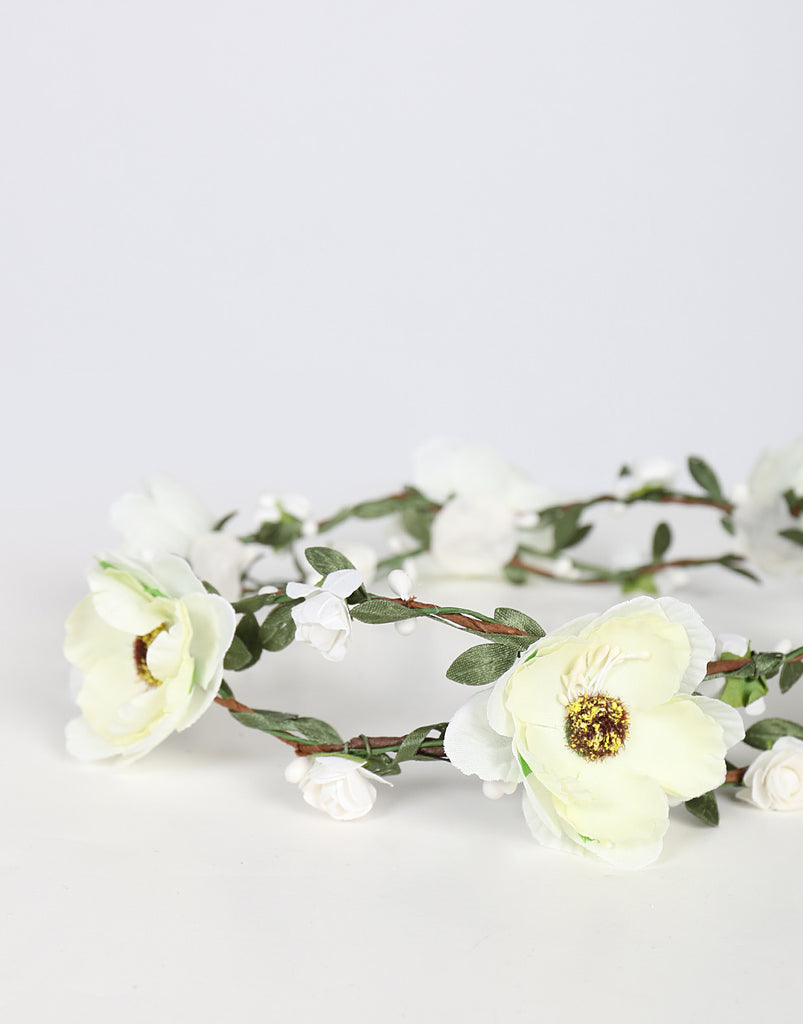 Double Wired Flower Crown - Ivory - 2020AVE