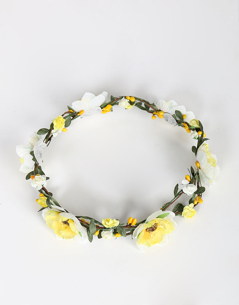 Double Wired Flower Crown - Yellow - 2020AVE