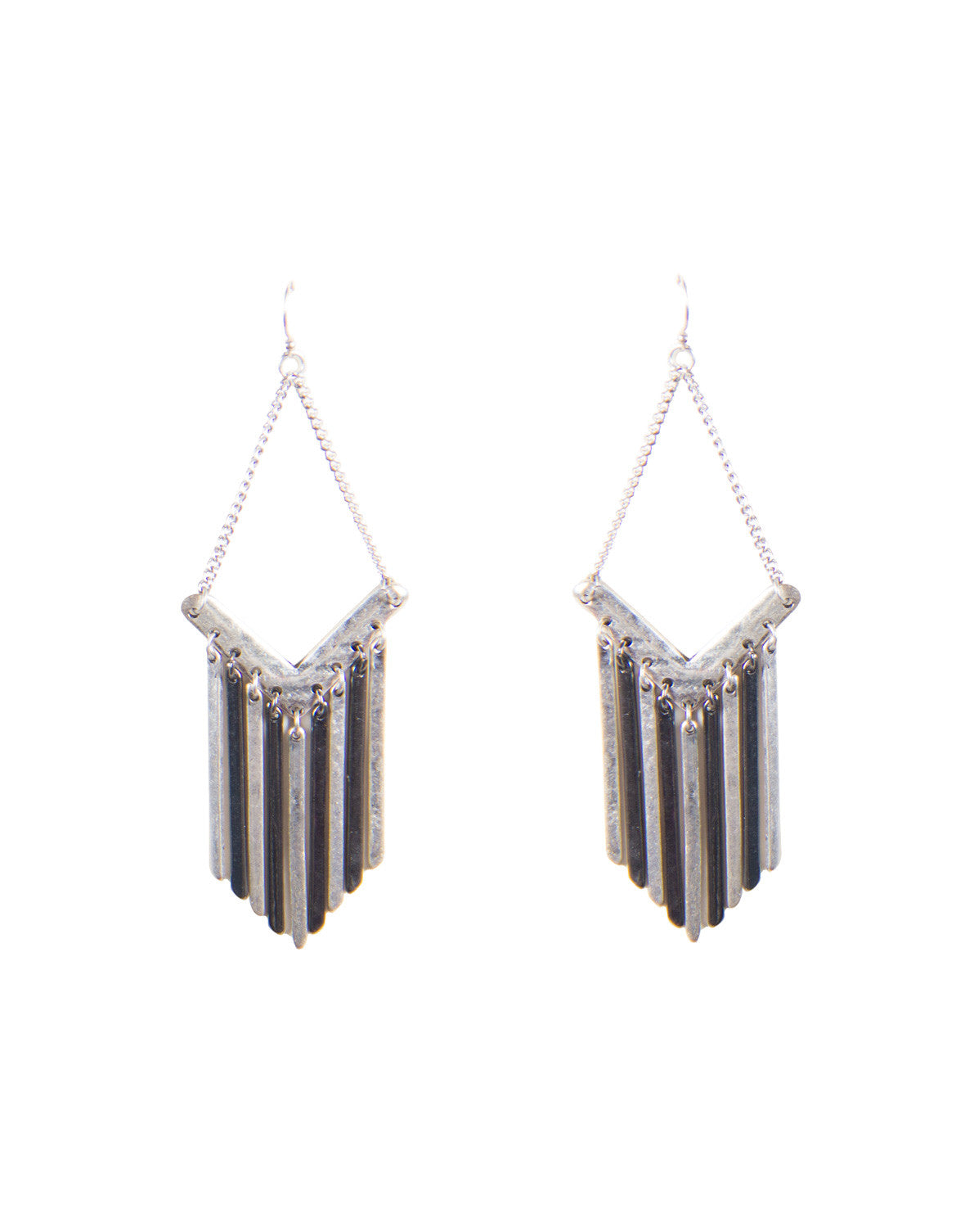 Downright Metal Fringe Earrings - Antique Silver - Ana ME 1880-Antique Silver
